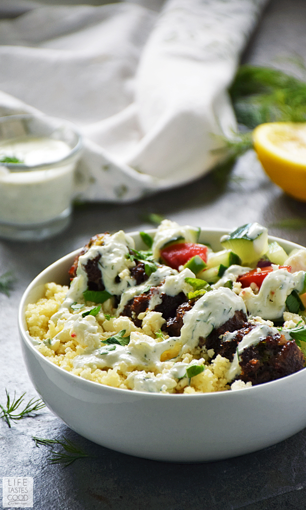 Greek Bowl with Mediterranean Meatballs over Couscous