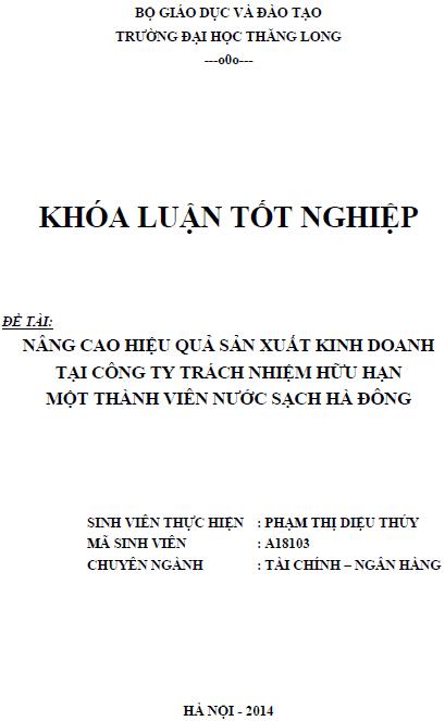 Nâng cao hiệu quả sản xuất kinh doanh tại Công ty TNHH một thành viên Nước sạch Hà Đông