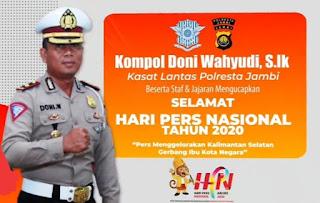 Kasatlantas Polresta Jambi Ucapkan Selamat Hari Pers Nasional Tahun 2020