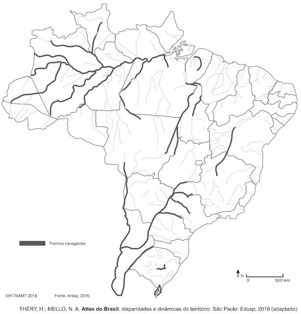 De acordo com o mapa, a maior quantidade de trechos navegáveis do Brasil encontra-se na Região