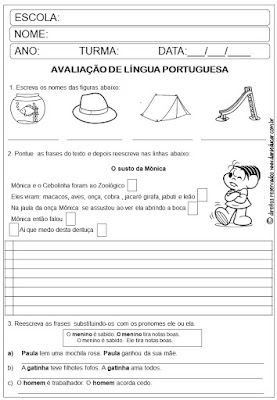 Avaliação Bimestral, Avaliação Bimestral, avaliação língua portuguesa, 3º ano, Ensino fundamental,