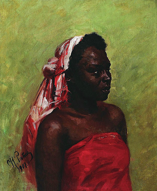 an Ilya Repin painting 1907, a black woman in red