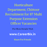 Horticulture Department, Chittoor Recruitment for 87 Multi Purpose Extension Officer Vacancies