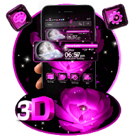 Pink Flower 3D Glass Tech Theme Apk free Download for Android