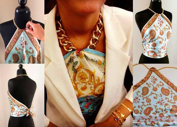 top, pañuelo, cadenas, bricomoda, refashion, costura, labores, moda