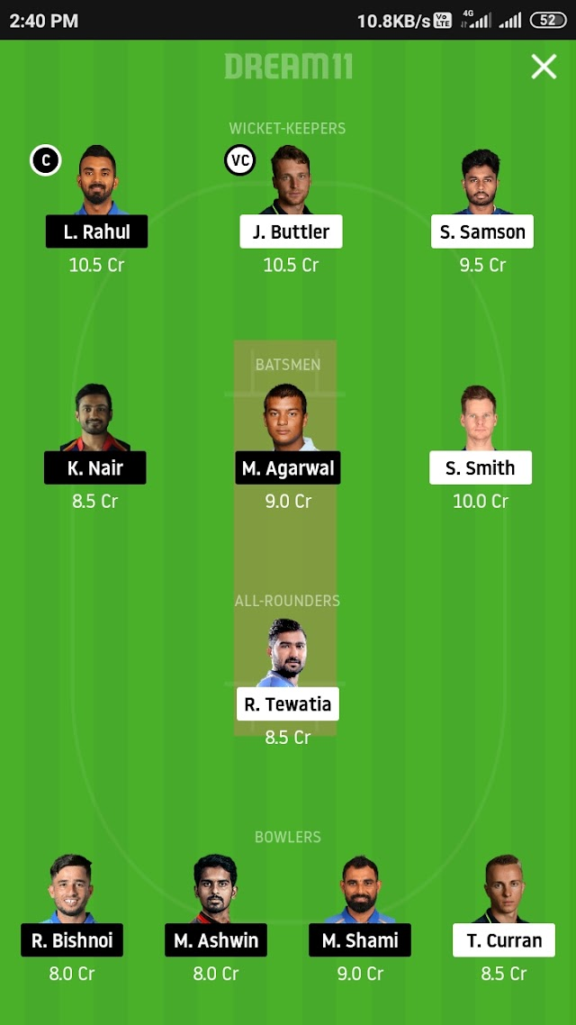 RR vs KXIP, match 9 Dream11 Team Prediction and tips