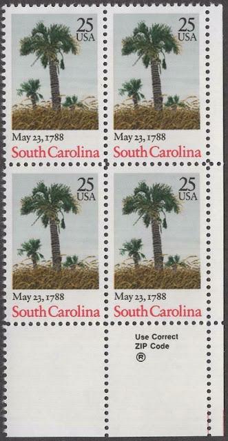 ZIP Block Of 4 - South Carolina Ratification