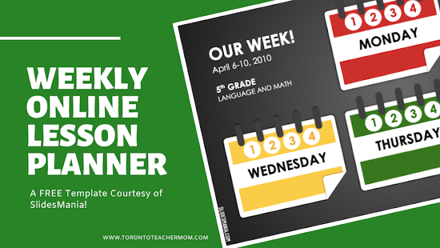 Free Weekly Planner for Online Lessons from SlidesMania