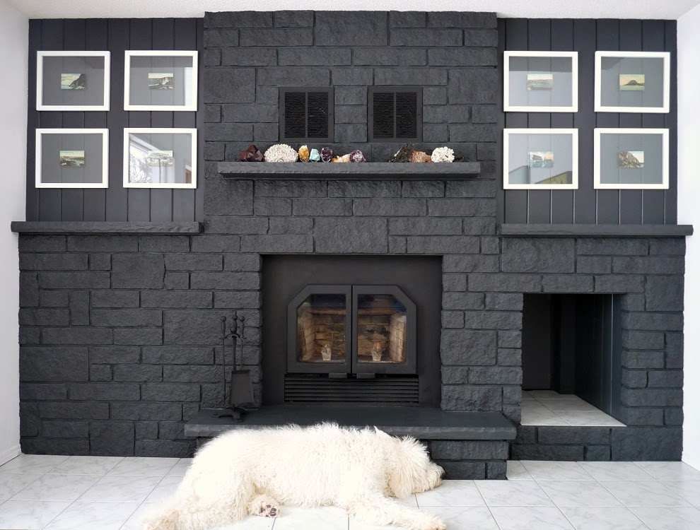 Artwork Flanking Fireplace