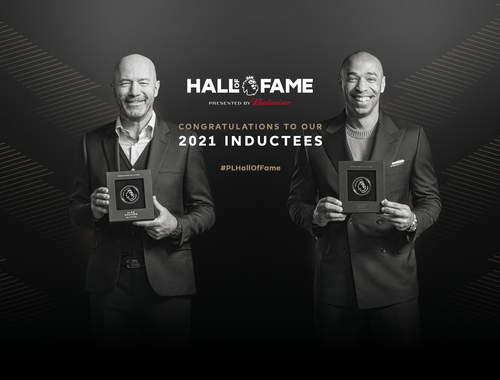 Alan Shearer, Thierry Henry holding their Premier League hall of fame plaque