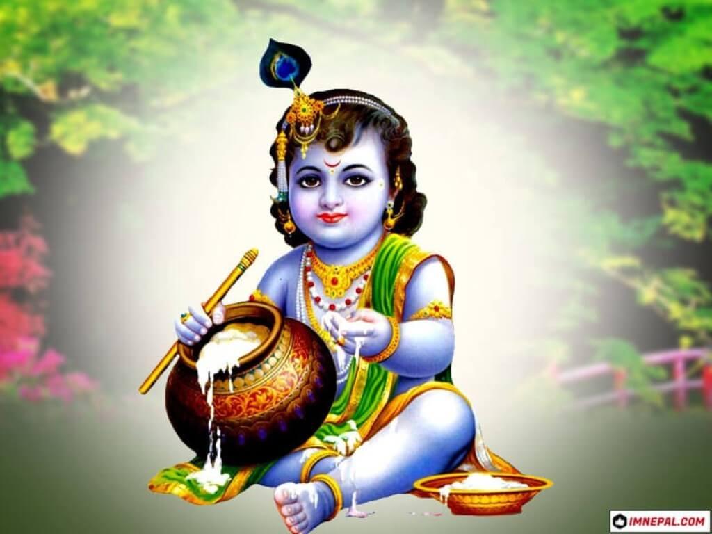 Cute Baby Krishna HD Wallpaper 4K For ...