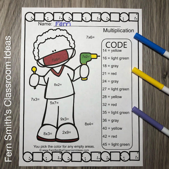 Click Here to Download This Career Themed Community Helpers Color By Number Multiply by 7, 8, & 9 AND Divide by 7, 8, & 9 BUNDLE Today for Your Class!