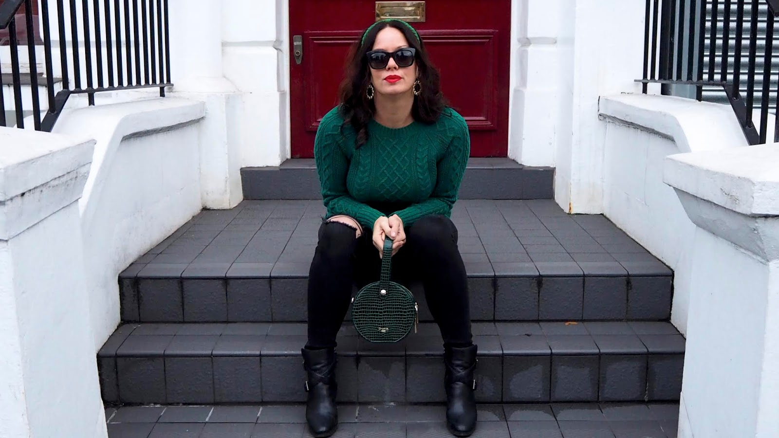 green crew neck cable knit sweater