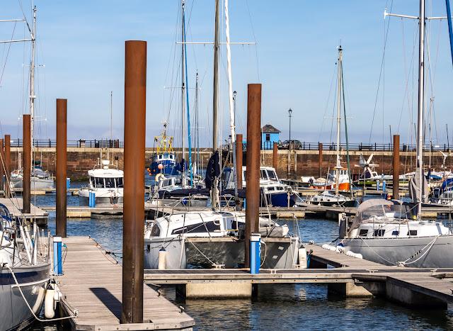 Photo of clear blue sky at Maryport Marina yesterday (Thursday)