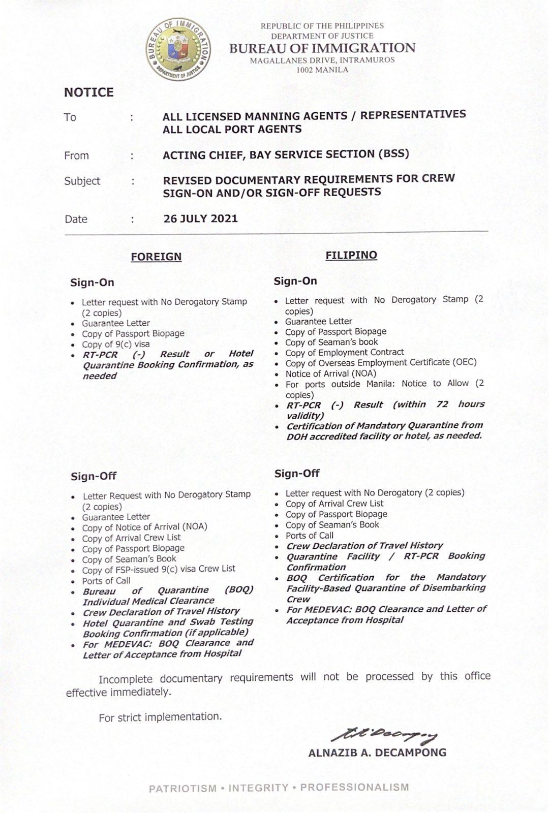 Port of Cebu Crew Change Protocol - Seafarers Crew Replacement Guide