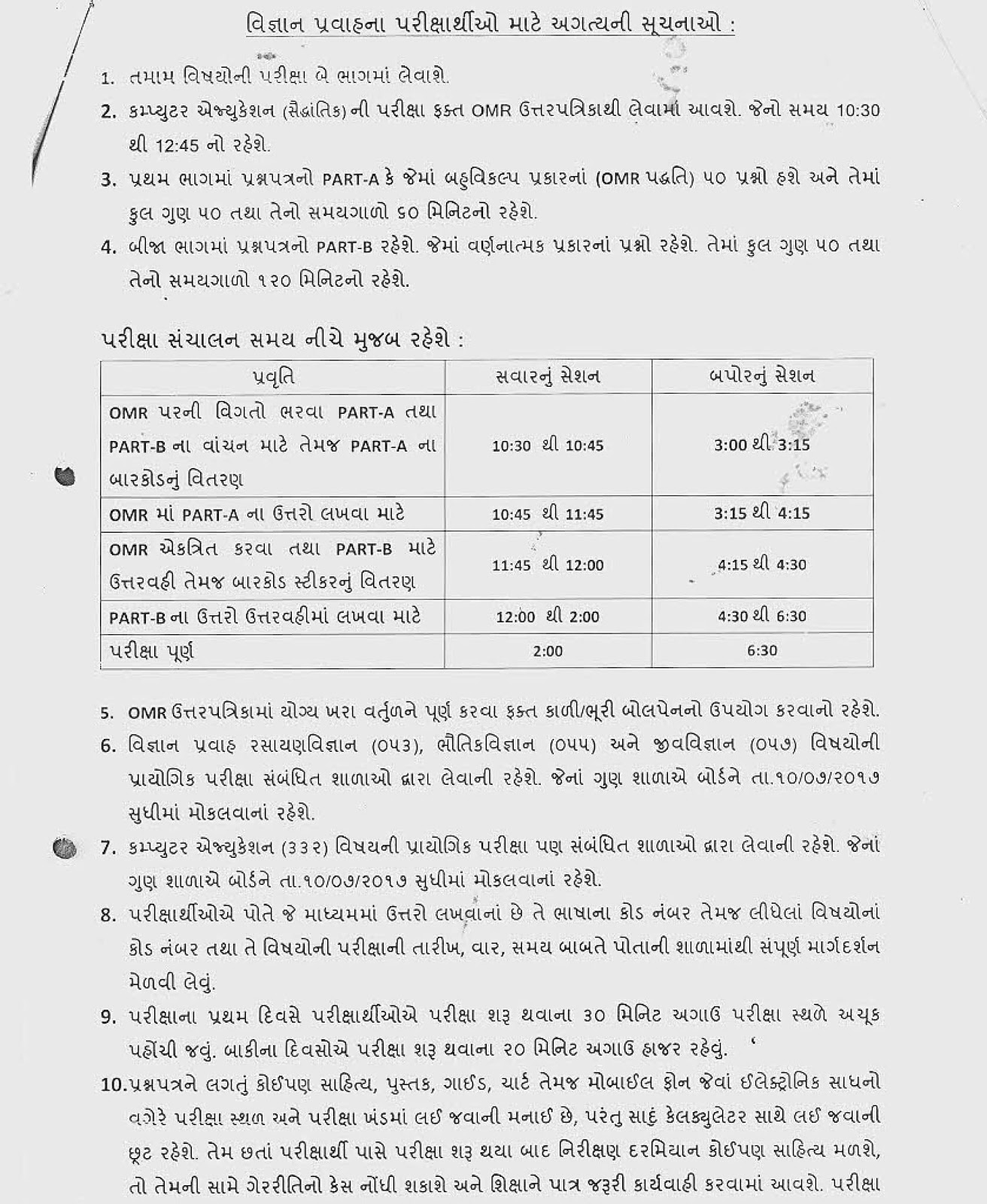 Gseb 12th class hsc re exam purak pariksha timetable july 2018 instructions for science students for re exam malvernweather Choice Image