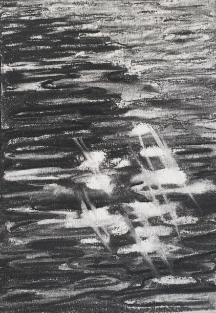 Sunny day in Amsterdam, original charcoal drawing, plein air by Philine van der Vegte