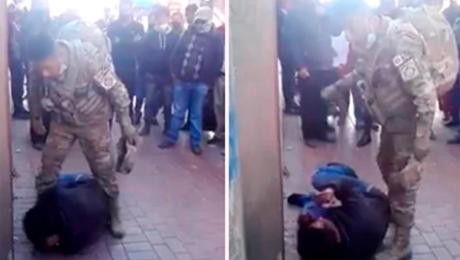 Militar da golpiza a ladrón tras descubrirlo robando a mujer (VIDEO)