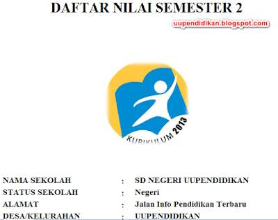 Format Daftar Nilai SD/MI Semester 2 Kelas 3 K13 Revisi 2018
