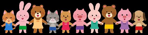 横に並んだ水着の動物ののキャラクター