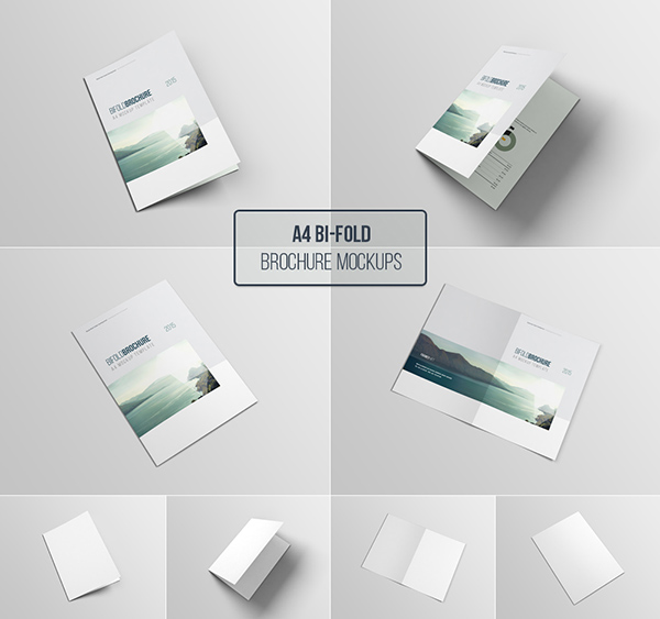 Download Gratis Mockup Majalah, Brosur, Buku, Cover - Free A4 Bifold Brochure Mock-up Template Photoshop