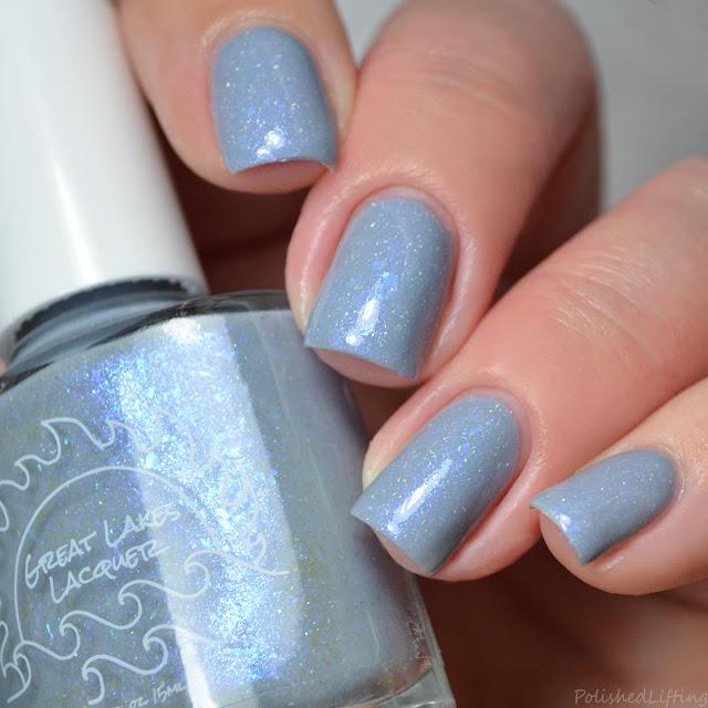 gray nail polish with flakie