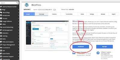 Installaasi wordpre di softaculous