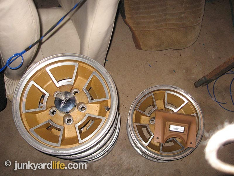 Previous owner must have had plans for a restorations considering that the original 14x6 wheels look pristine.