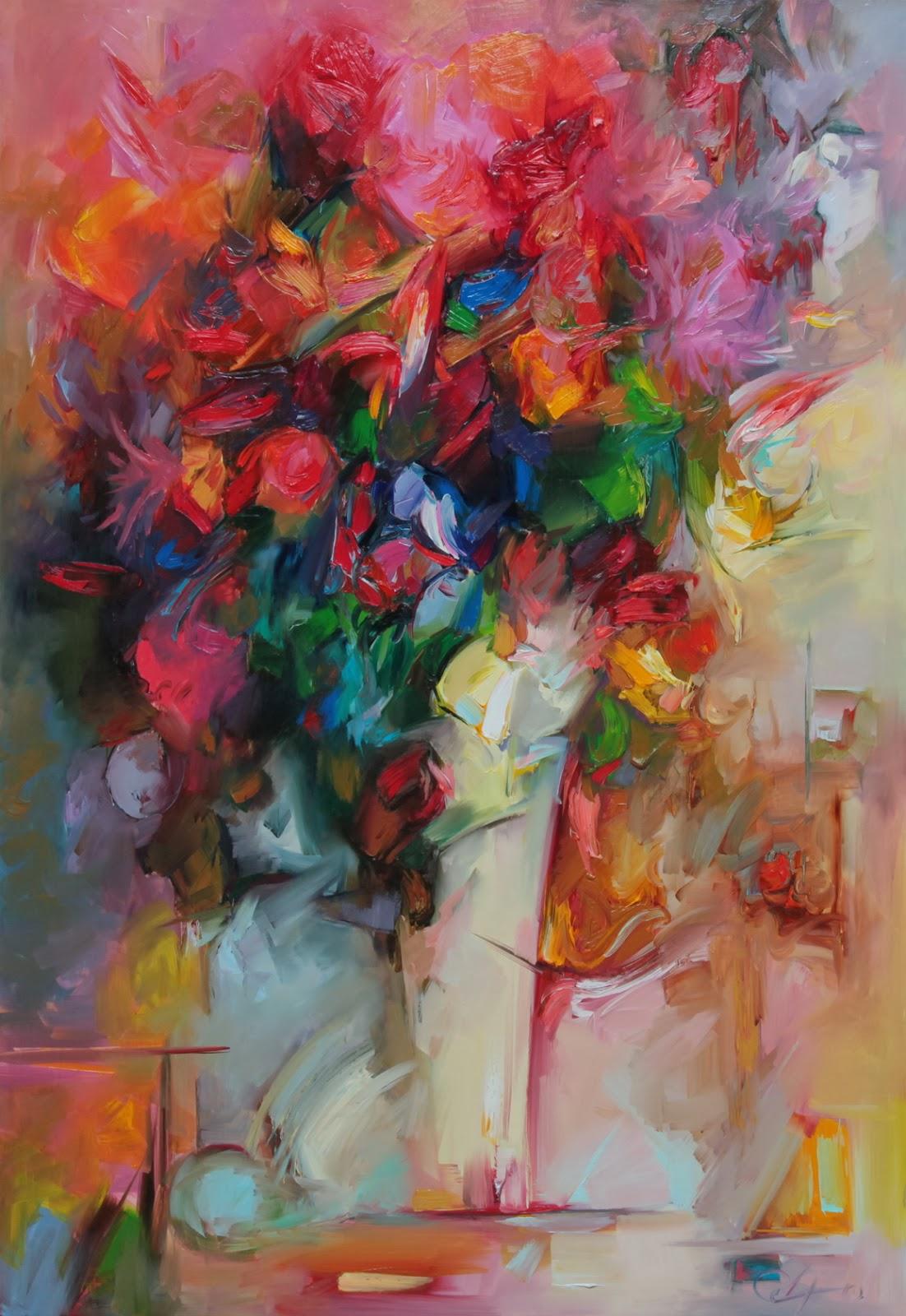 Czerwone kwiaty malarstwo olejne