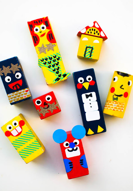 DIY Wooden Block Dolls- Kids transform old blocks into cute characters with this fun art activity!