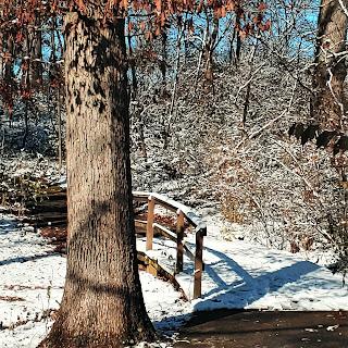 Snow-covered footbridge