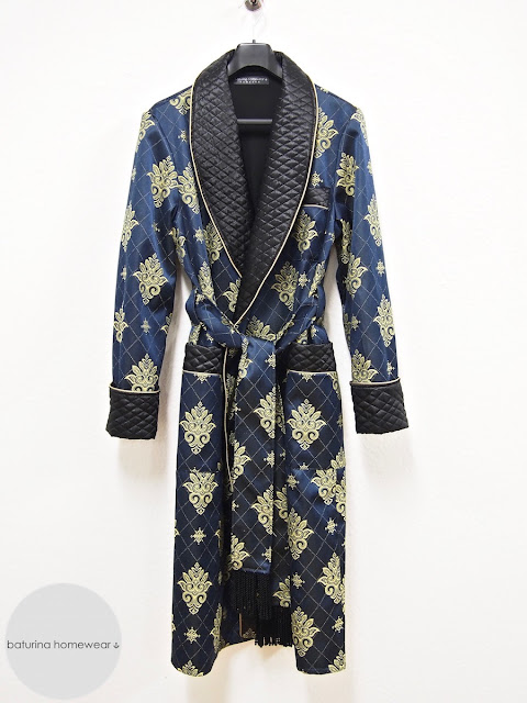 Mens blue silk dressing gown quilted long gold paisley robe