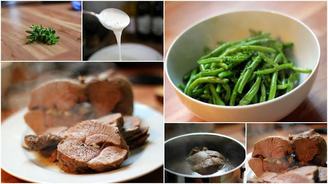 In court bouillon pochierte Lammkeule, grüne Bohnen mit Ysop und kühle Frühlingssauce