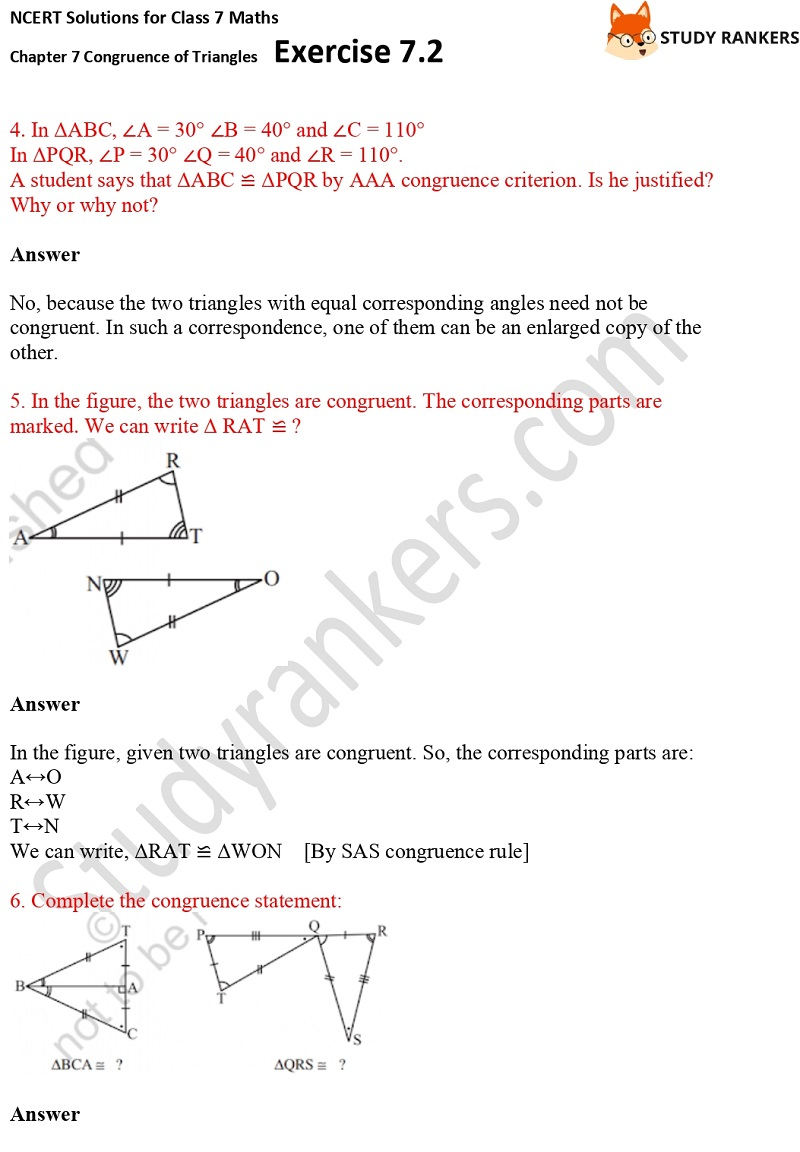 NCERT Solutions for Class 7 Maths Ch 7 Congruence of Triangles Exercise 7.2 4