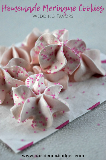 Edible wedding favors are the best. These Homemade Meringue Cookies Wedding Favors are simple, delicious, and budget-friendly favors. Get the recipe at www.abrideonabudget.com.