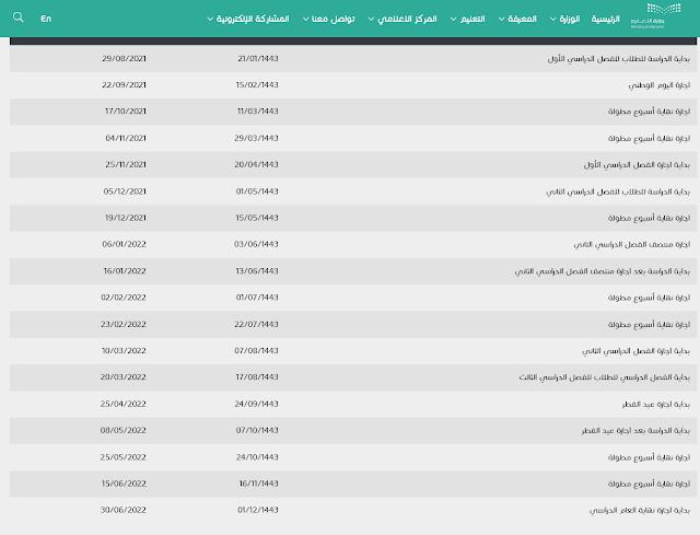 التقويم الدراسي 1443-1444