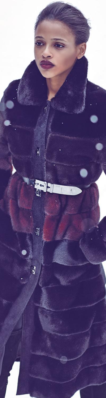 J. Mendel Colorblock Horizontal-Mink Fur Coat