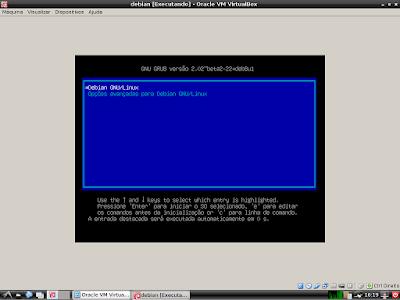 Iniciando o sistema linux debian
