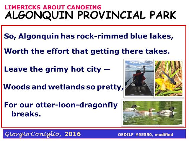 limerick; canoeing; Canada; parks; ecology; Giorgio Coniglio