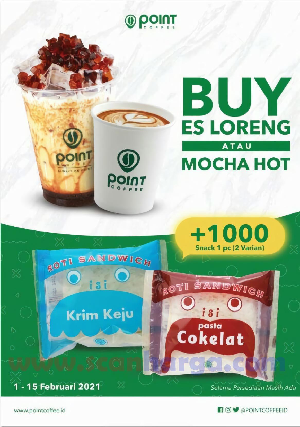 POINT COFFEE Promo Beli ES LORENG atau MOCHA HOT! +Rp 1.000 Dapat Snack 1 PCS (2 Varian)