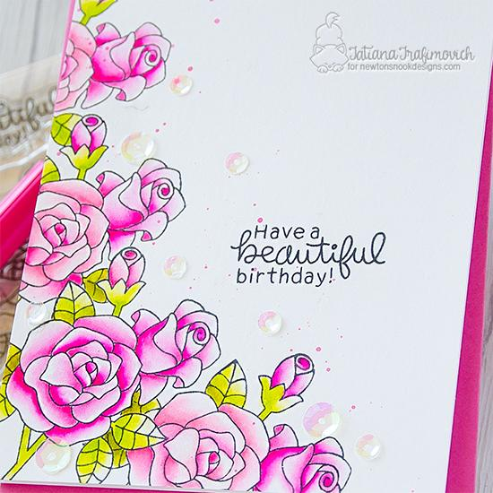 Have a Beautiful Day Card by Tatiana Trafimovich | Roses Stamp Set by Newton's Nook Designs #newtonsnook #handmade