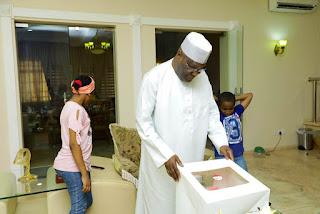 Grandchildren Present Birthday Cake To Former Vice President, Atiku (Photo)