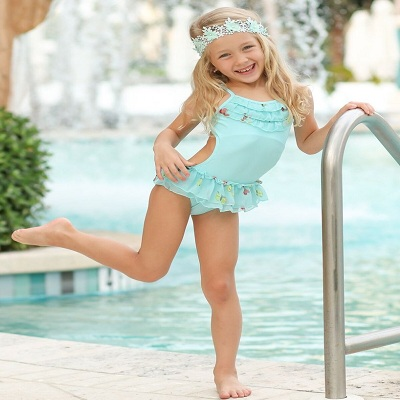 a380bace3ec Girls Swan Side Ruffle One-Piece Swimsuit  This one s the very fun looking  swimwear. The Swan dress with ruffled sides looks extremely pretty to look  at.