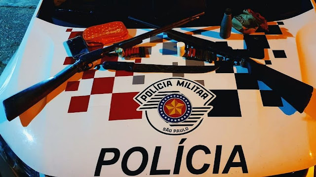 Policia Militar de Pracinha Prende Dois Homens em Fragrante Posse de Arma de Fogo
