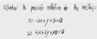 26. Posición relativa de dos rectas 2