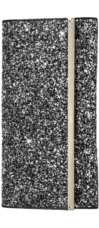 Jimmy Choo Maia Glittered Textile & Leather Clutch Black Mist