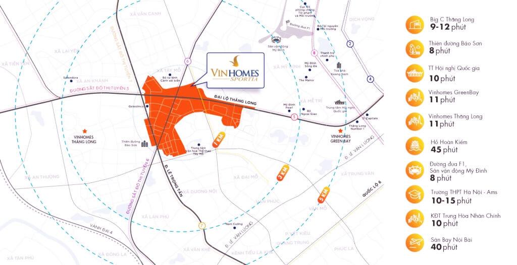 Vị trí đắc địa của dự án Vinhomes Sportia Tây Mỗ