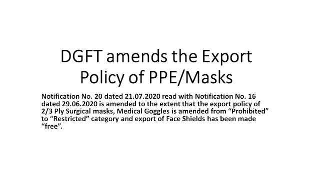 DGFT amends the Export Policy of PPE/Masks