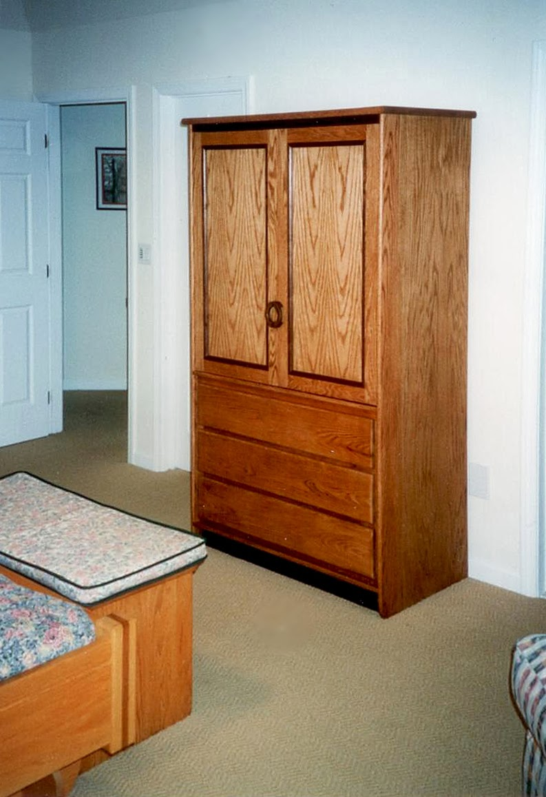 Custom solid oak media cabinet or freestanding closet. Westchester, NY