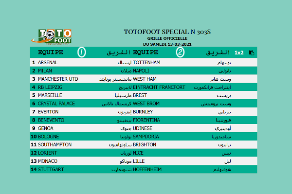 PRONOSTIC TOTOFOOT 14 Spécial N° 303S